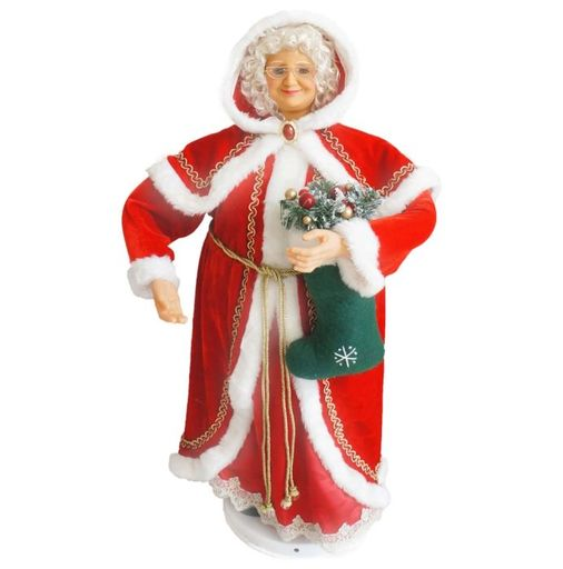 "36"" Mrs Claus With Stocking (Dancing/Music)"