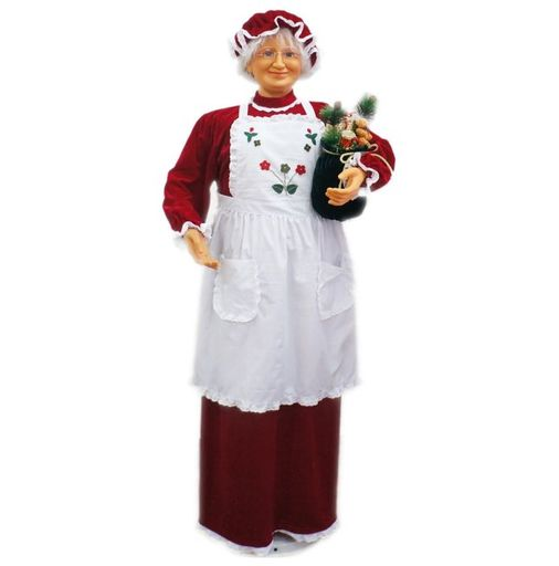 """58"""" Mrs Claus With Apron (Dancing/Music)"""