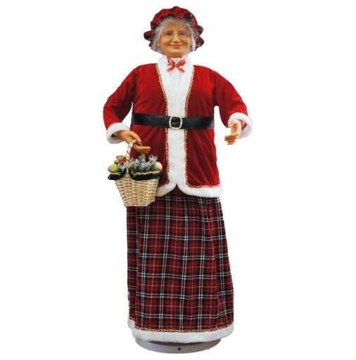 """58"""" Mrs Claus With Basket (Dancing/Music)"""
