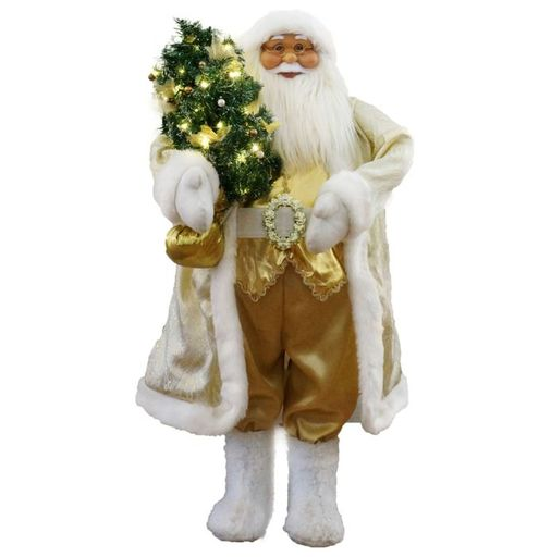 "36"" White/Gold Santa With Xmas Tree (Music)"