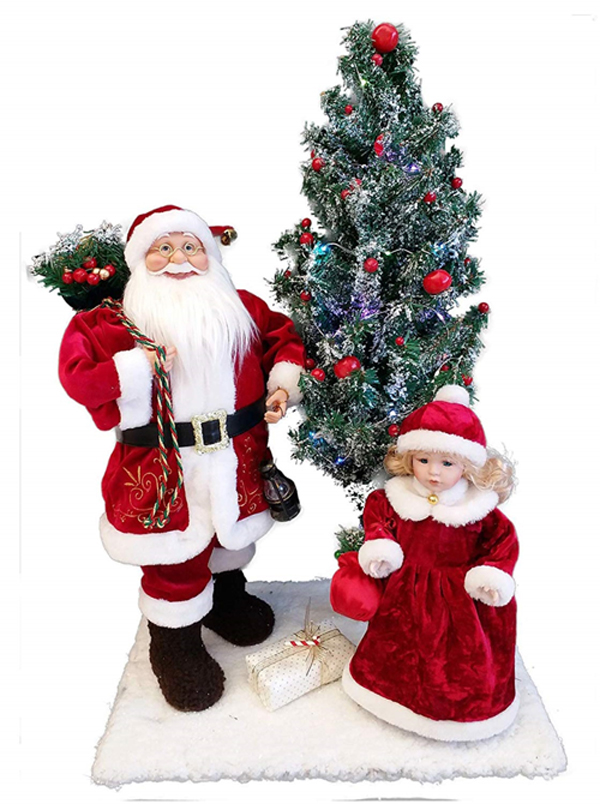"18"" Dancing Santa and 12""stationary girl with LED tree"