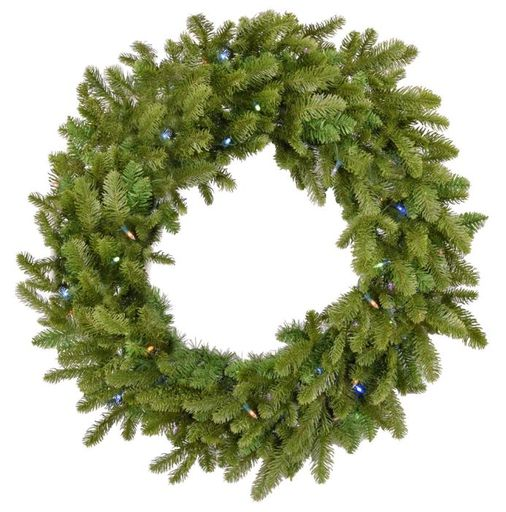 "Fraser Hill Farm 48"" Grandland Wreath - Mlti LED Lght, Battery Not Inc"