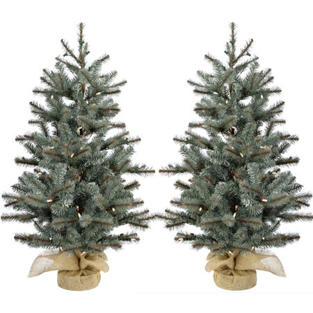 Fraser Hill Farm 2.0' Heritage Pine Tree, Clr LED Lght (SET 2), Battery