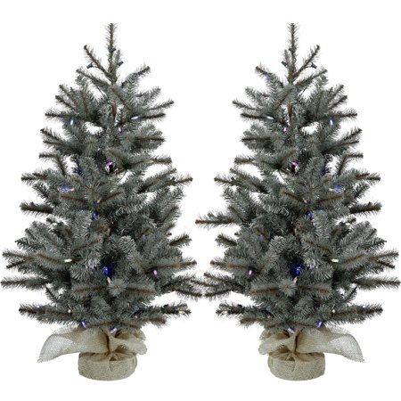 Fraser Hill Farm 2.0' Heritage Pine Tree-Mlti LED Lght(SET 2),BattNotInc