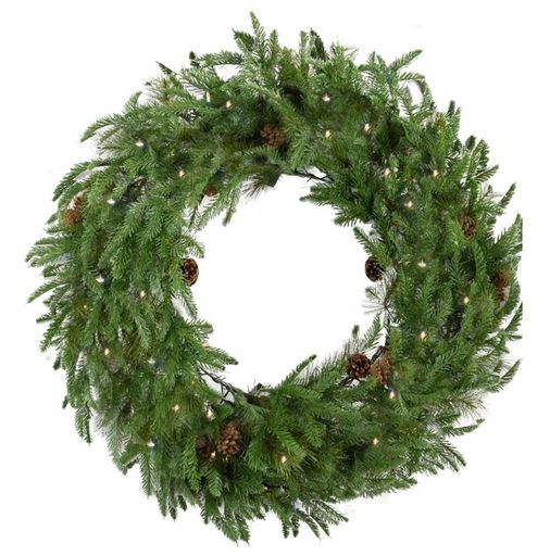 "Fraser Hill Farm 36"" Norway Pine Wreath - Clear LED Lights, Battery Box"