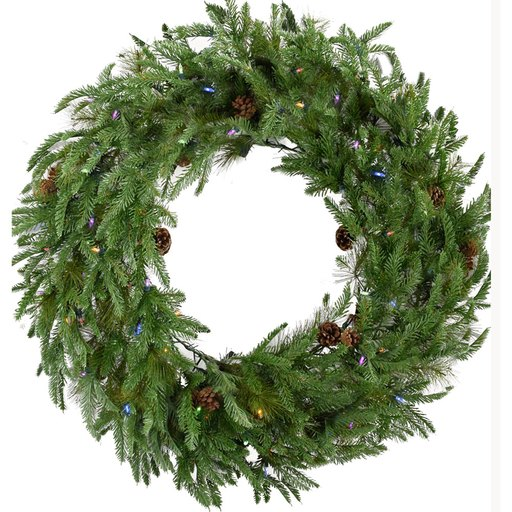 "Fraser Hill Farm 36"" Norway Pine Wreath - Multi LED Lights, Battery Box"