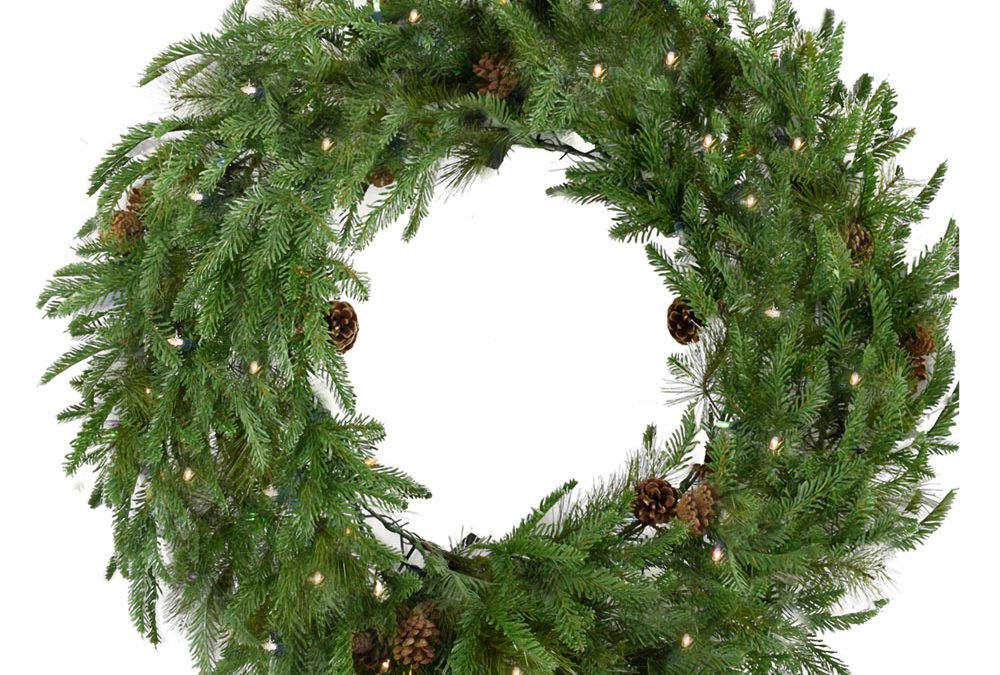 "Fraser Hill Farm 48"" Norway Pine Wreath - Clear LED Lights, Battery Box"