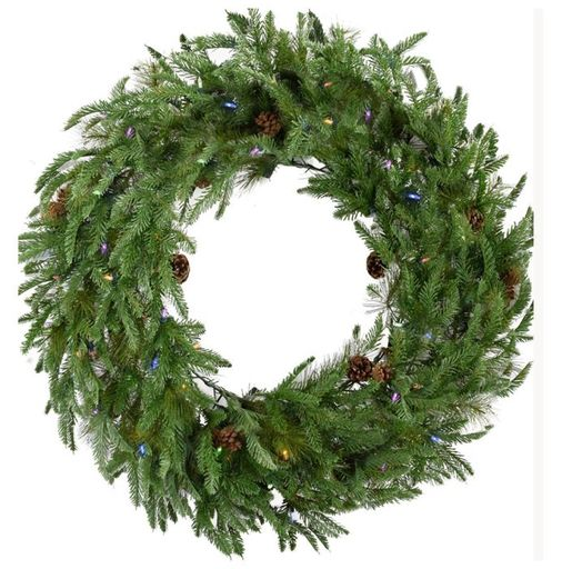 "Fraser Hill Farm 48"" Norway Pine Wreath - Multi LED Lights, Battery Box"