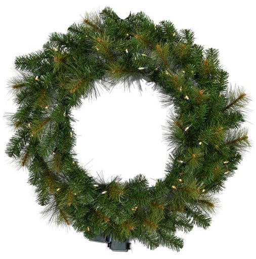 "Fraser Hill Farm 36"" Southern Peace Wreath-Clr LED Lgt, Battery Not Inc"