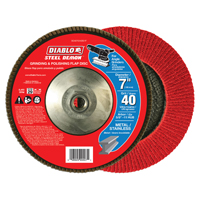 FLAP DISC 7IN STEEL 40G W/HUB