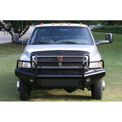Grill Guard Front Ranch Bumper in Black Powder Coat Tread Plate with Tow Hooks