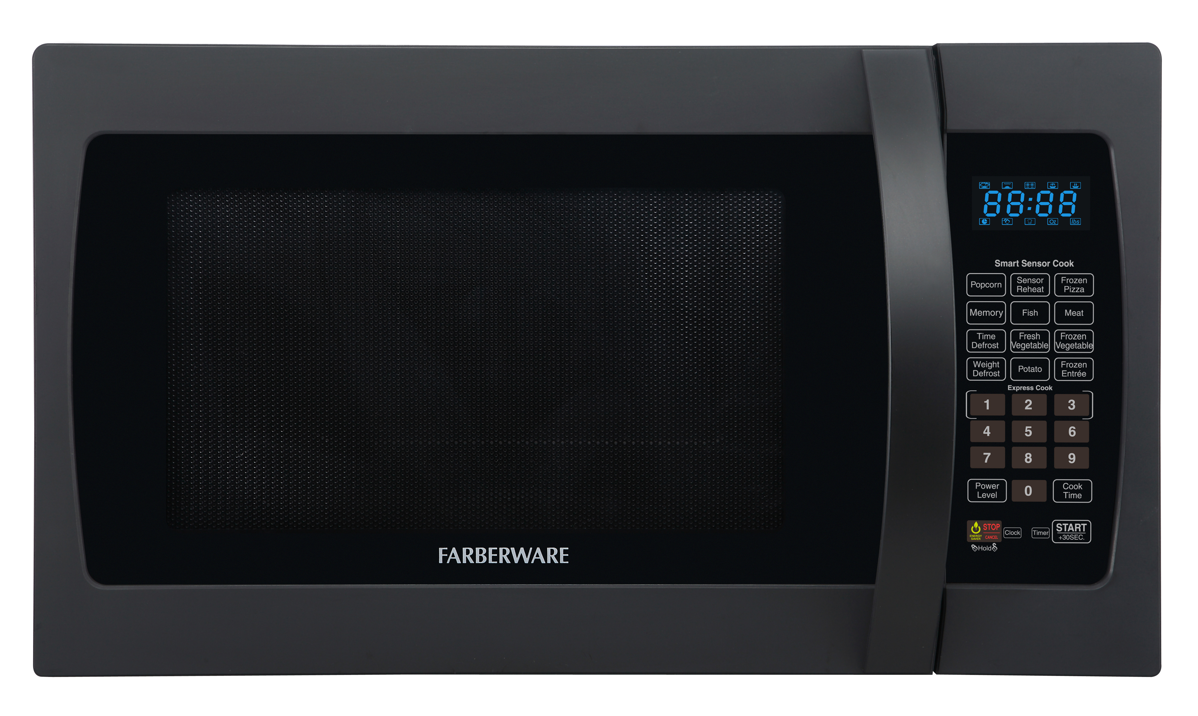 Farberware Professional FMO13AHTBKF 1.3 Cu. Ft 1100-Watt Microwave Oven with Smart Sensor Cooking, Frozen Black
