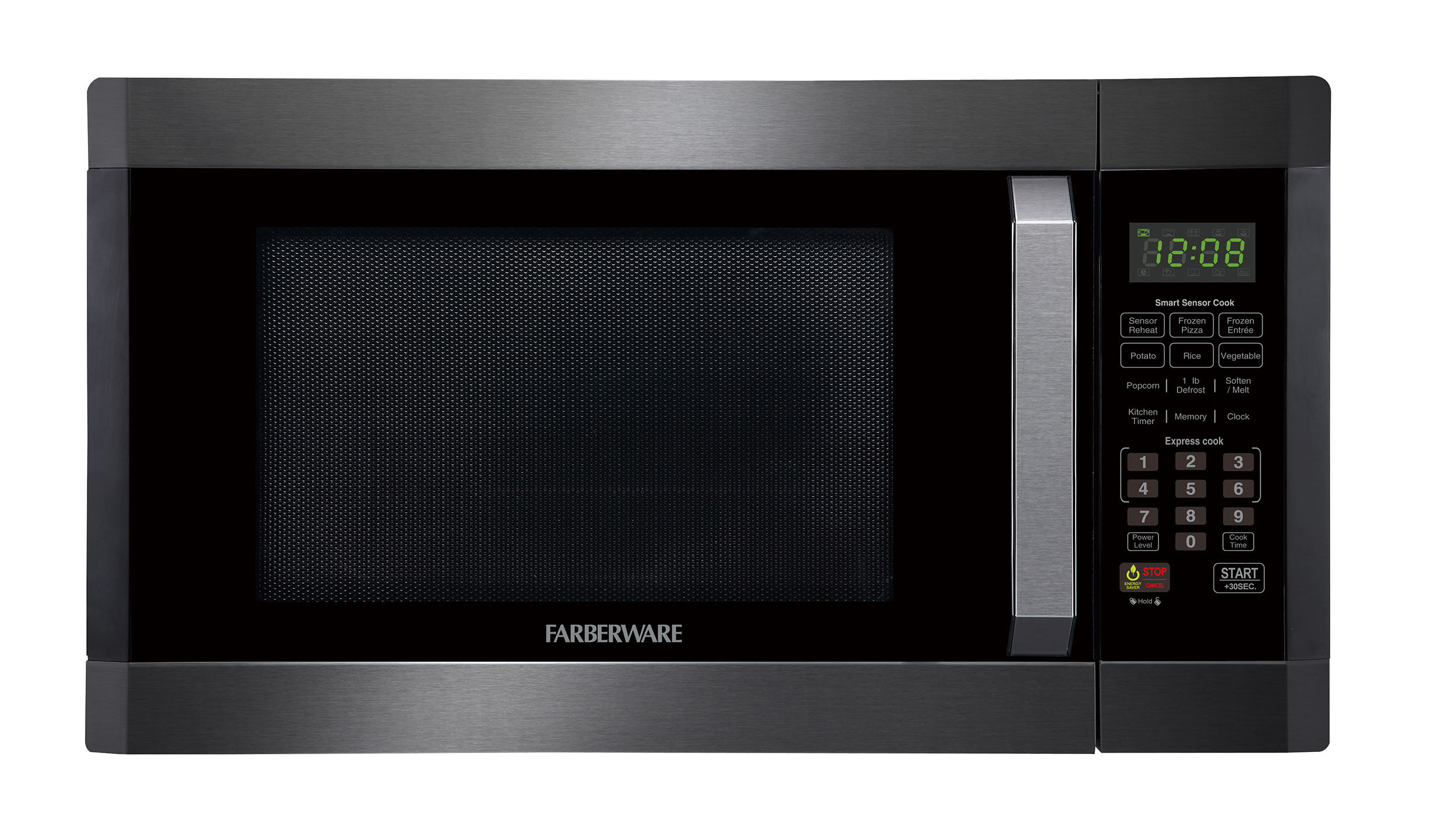 Farberware Black FMO16AHTBSD 1.6 Cu. Ft Microwave Oven with Smart Sensor, Black Stainless Steel, Green LED