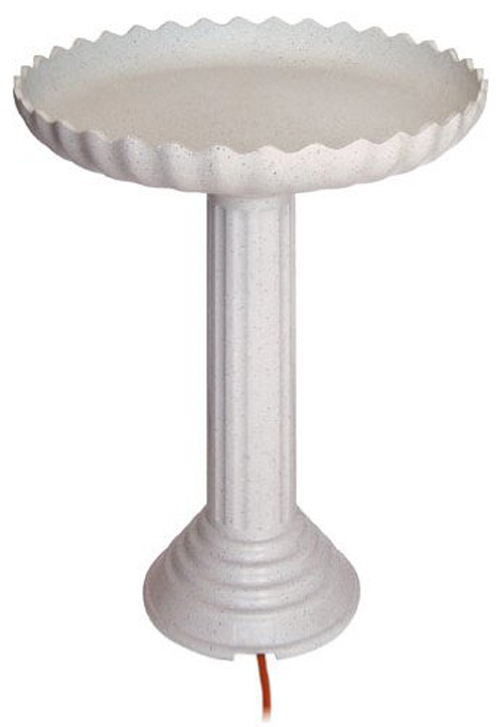 Scalloped Birdbath and Pedestal Combo Gray Stone