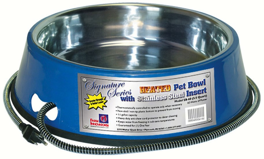 Signature Series 5.5-Quart Stainless Heated Pet Bowl, Blue