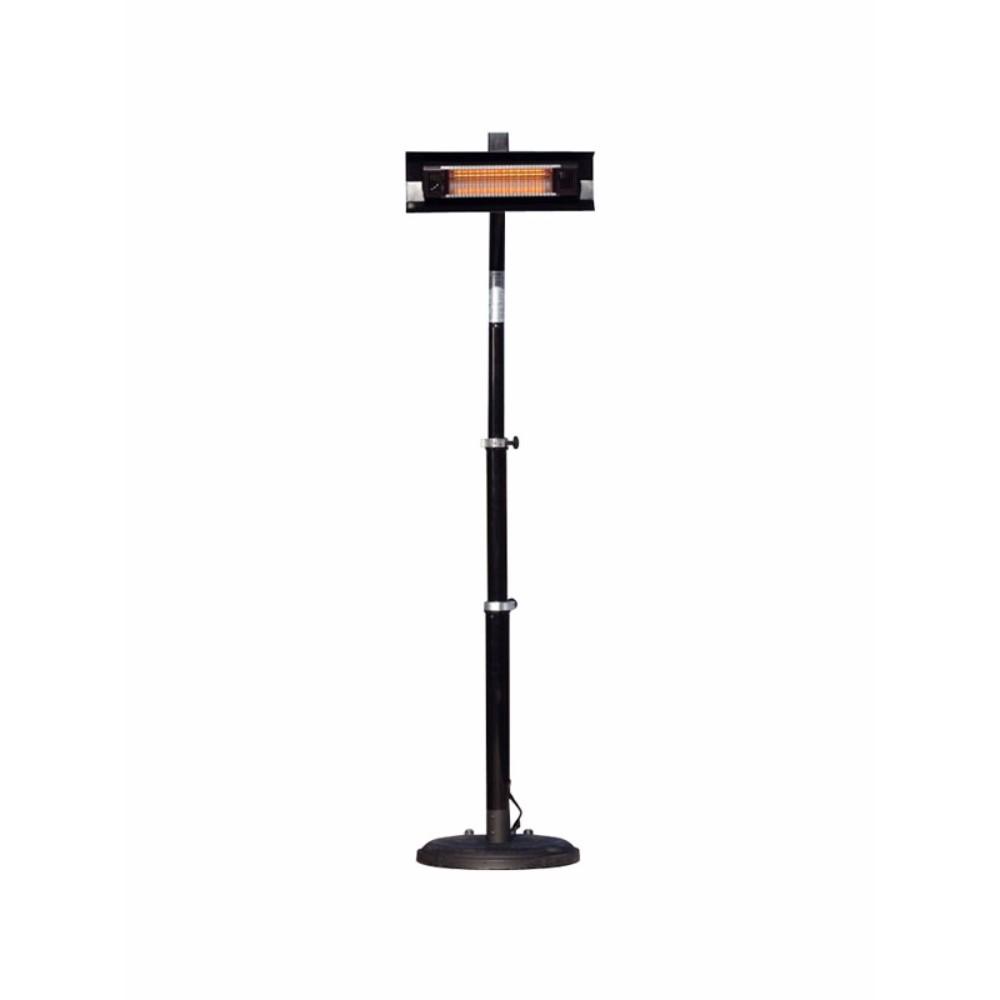WT Living 1500 Watt Infrared Telescoping Black Steel Pole-Mounted Patio Heater - w/wheels -Black Pow