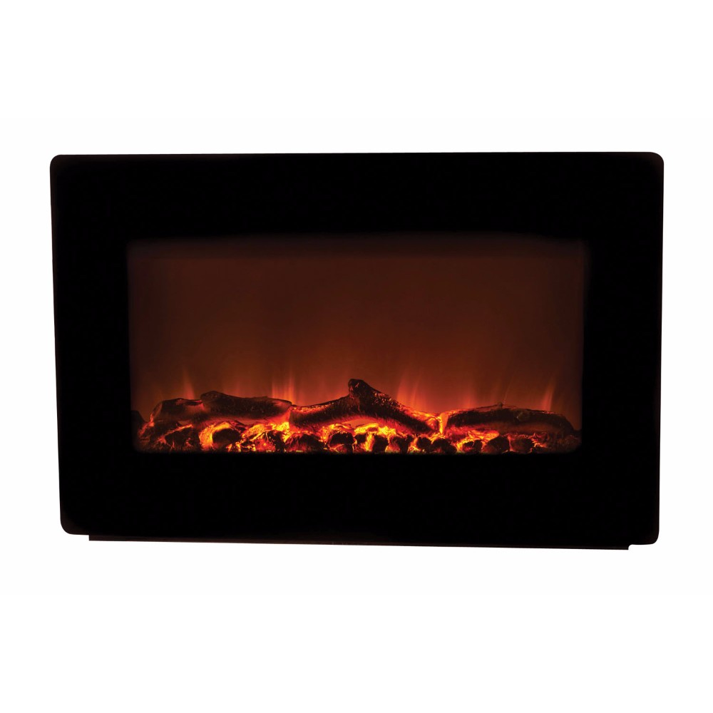 WT Living Black Wall Mounted Electric Fireplace - 1350 Watts