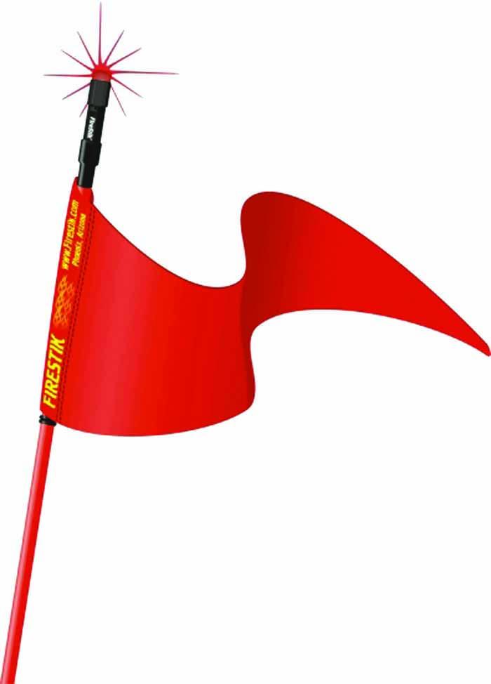 """3' RED STROBE READY STIK (3/8""""X24 BASE) W/FLAG"""