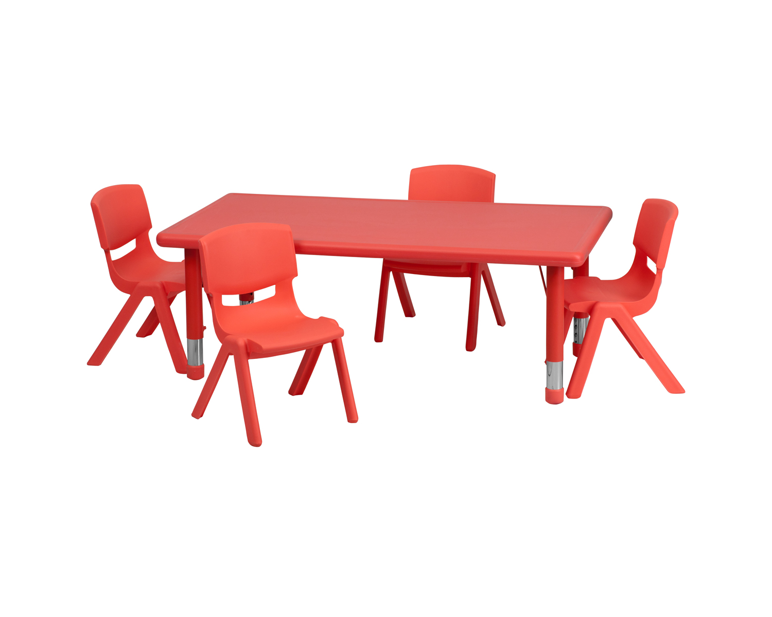 24'W x 48'L Adjustable Rectangular Red Plastic Activity Table Set with 4 School Stack Chairs [YU-YCX-0013-2-RECT-TBL-RED-R-GG]