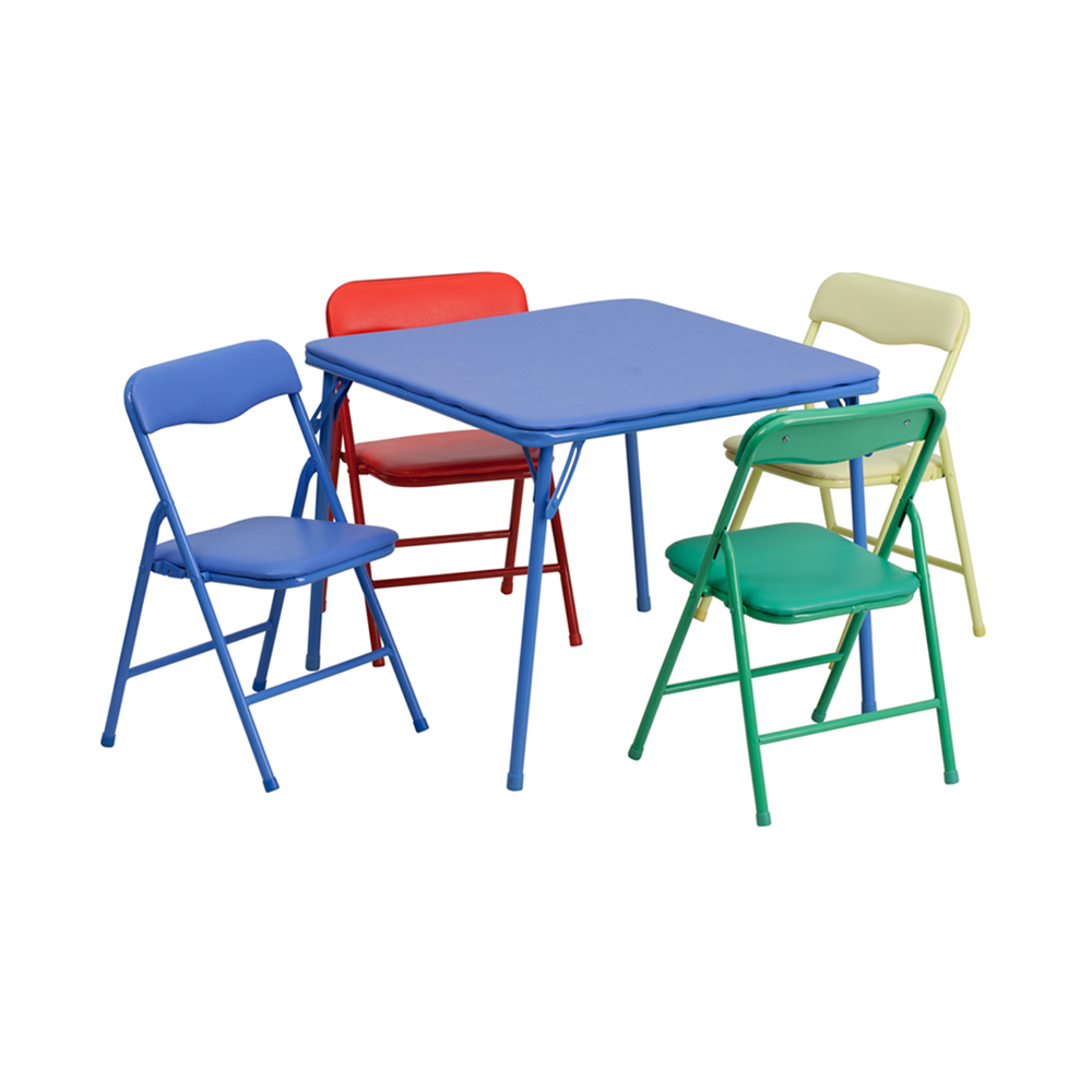 Kids Colorful 5 Piece Folding Table and Chair Set [JB-9-KID-GG]