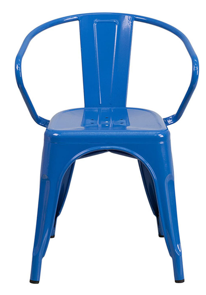 Flash Furniture Blue Metal Indoor-Outdoor Chair With Arms CH-31270-BL-GG
