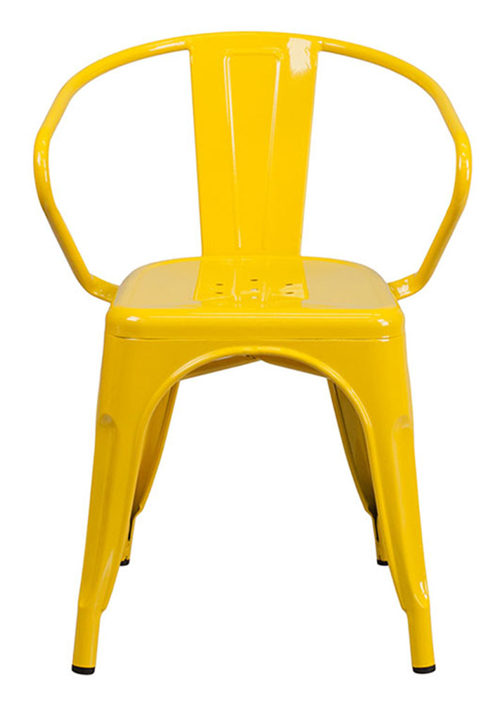 Flash Furniture Yellow Metal Indoor-Outdoor Chair With Arms CH-31270-YL-GG