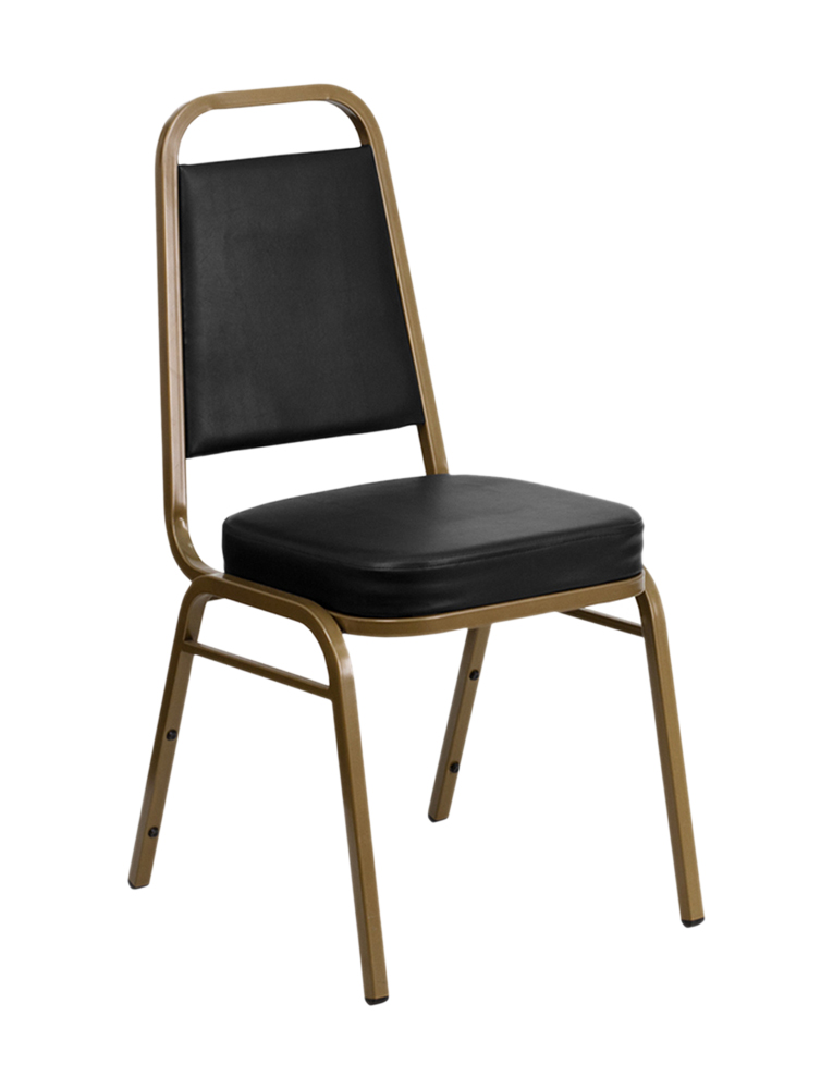 """HERCULES Series Trapezoidal Back Stacking Banquet Chair with Black Vinyl and 2.5"""" Thick Seat - Gold Frame [FD-BHF-1-ALLGOLD-BK-G"""