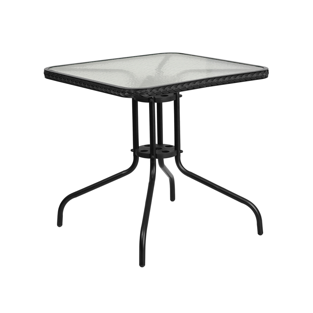 "Flash Furniture 28"" Square Tempered Glass Metal Table with Black Rattan Edging"