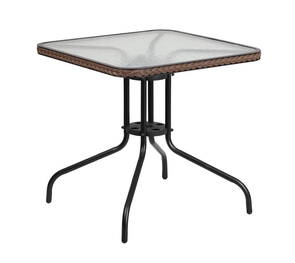 """Flash Furniture 28"""" Square Tempered Glass Metal Table with Dark Brown Rattan Edging"""