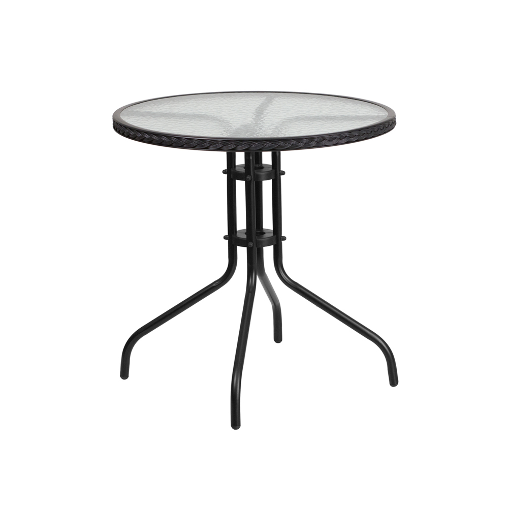 "Flash Furniture 28"" Round Tempered Glass Metal Table with Black Rattan Edging"