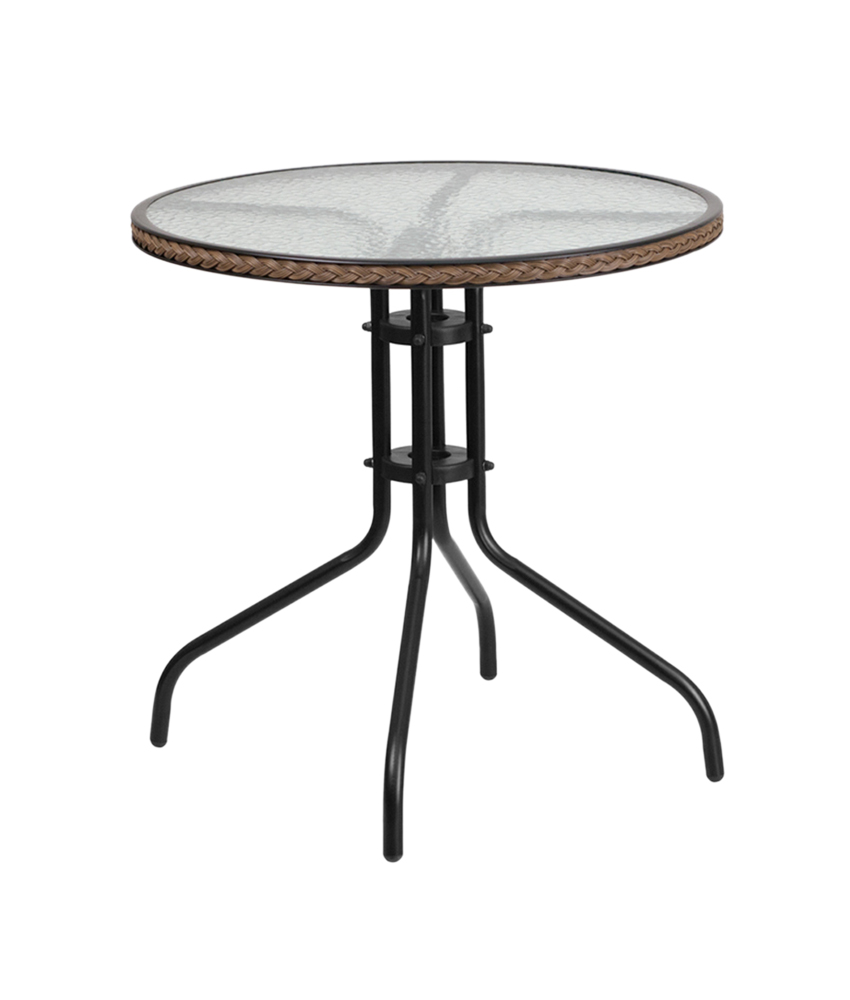 """Flash Furniture 28"""" Round Tempered Glass Metal Table with Dark Brown Rattan Edging"""