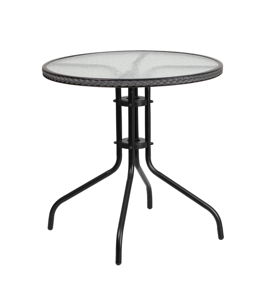 """Flash Furniture 28"""" Round Tempered Glass Metal Table with Gray Rattan Edging"""