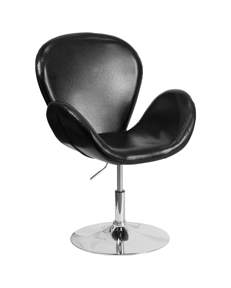 Flash Furniture Home Indoor Hercules Trestron Series Black Leather Reception Chair with Adjustable Height Seat