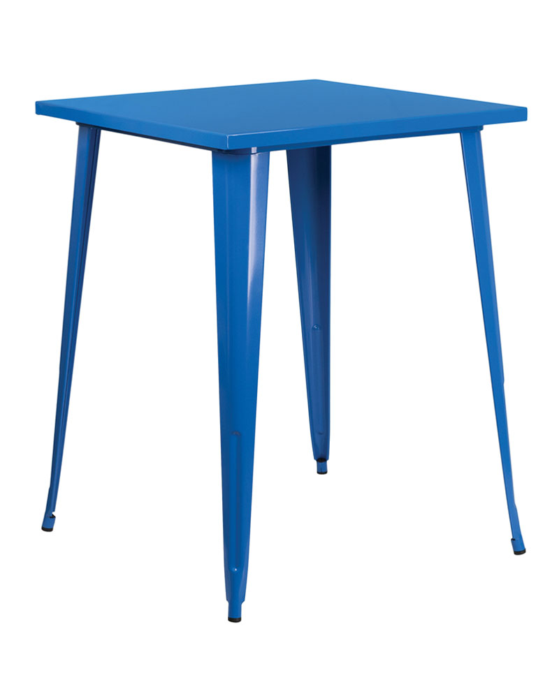 "Flash Furniture Home Indoor 31.5"" Square Bar Height Blue Metal Indoor-Outdoor Table"