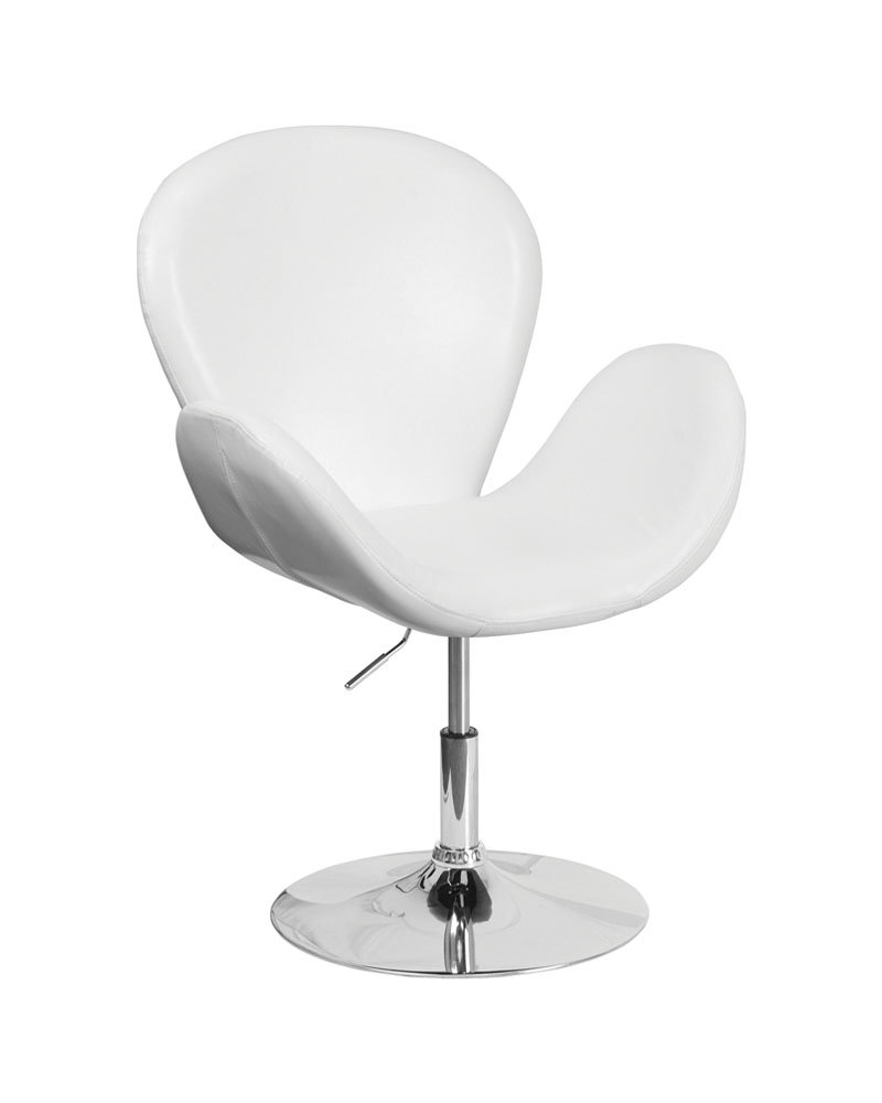 Flash Furniture Home Indoor Hercules Trestron Series White Leather Reception Chair with Adjustable Height Seat