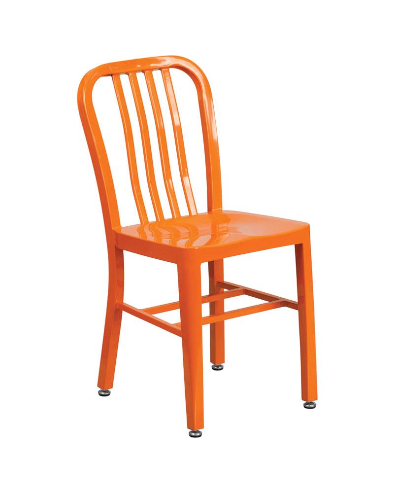 Flash Furniture Orange Metal Indoor-Outdoor Modern Chair