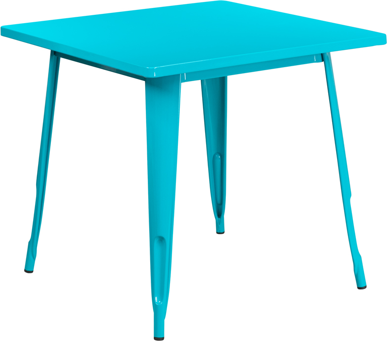 """Flash Furniture 31.5"""" Square Crystal Blue Metal Indoor-Outdoor Table"""