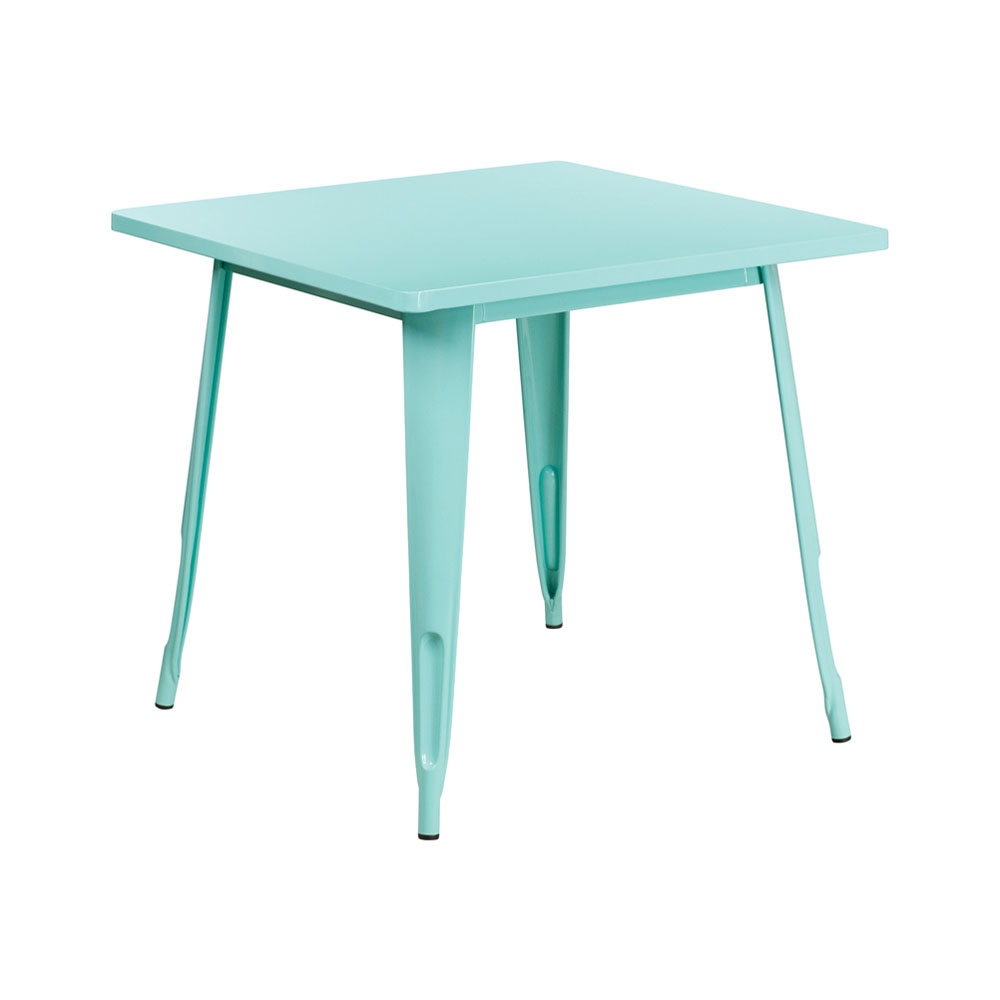 """Flash Furniture 31.5"""" Square Mint Green Metal Indoor-Outdoor Table"""