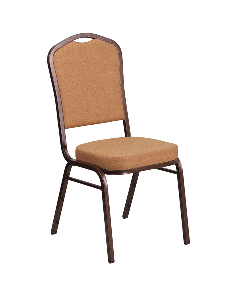 "HERCULES Series Crown Back Stacking Banquet Chair with Brown Fabric and 2.5"" Thick Seat - Copper Vein Frame"
