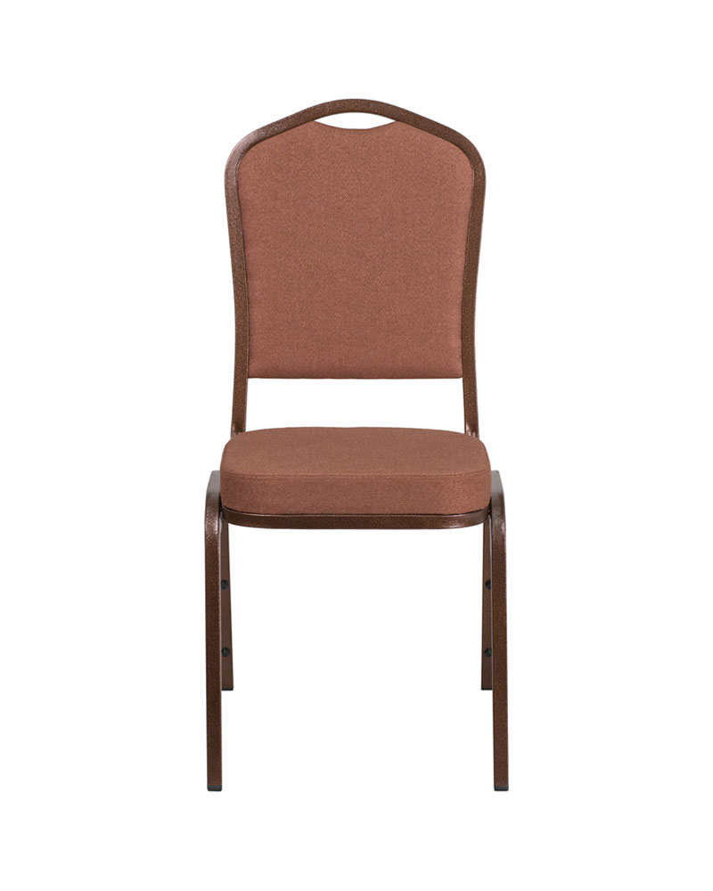 "Flash Furniture HERCULES Series Crown Back Stacking Banquet Modern Chair with Brown Fabric and 2.5"" Thick Seat - Copper Vein Fra"