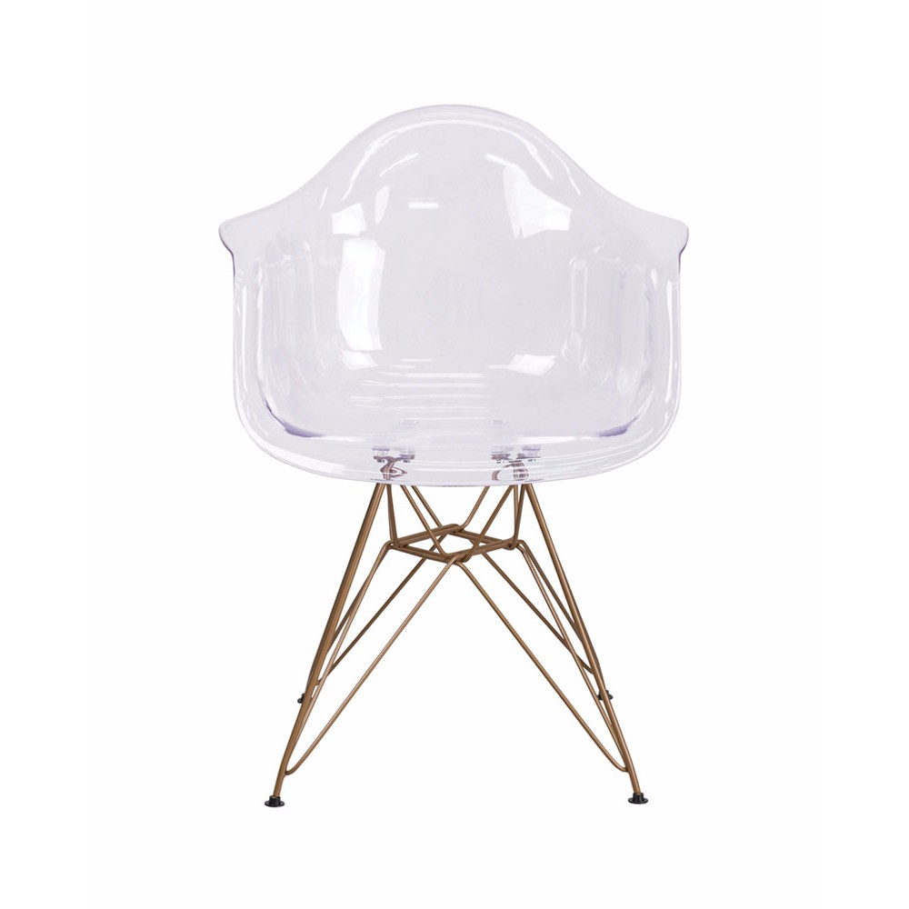 Flash Furniture Allure Series Transparent Side Modern Chair with Gold Frame