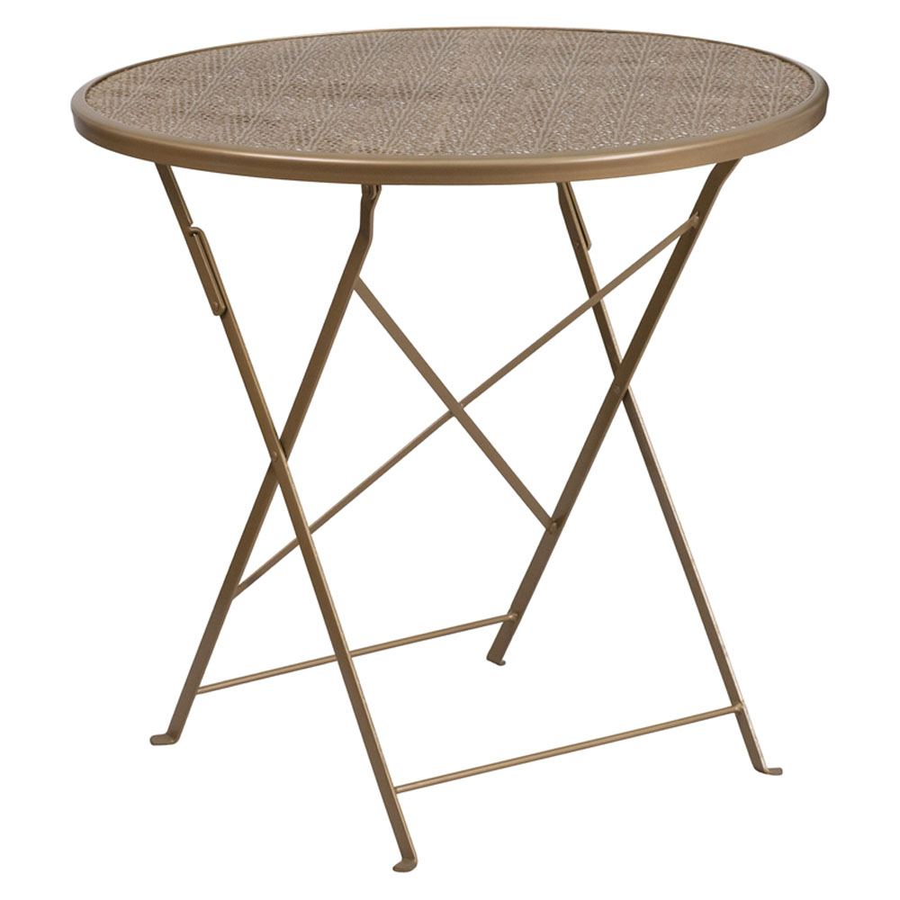"""Flash Furniture 30"""" Round Gold Indoor-Outdoor Steel Folding Modern Patio Table"""