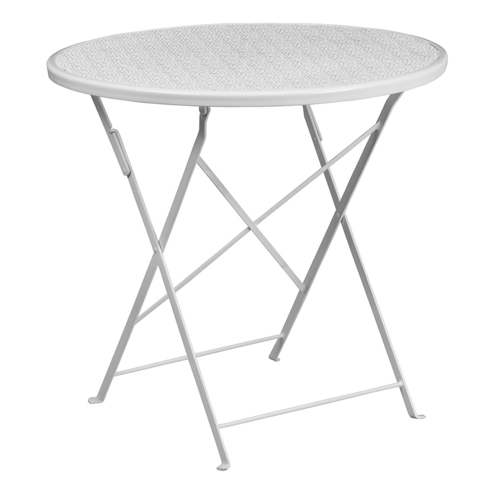 """Flash Furniture 30"""" Round White Indoor-Outdoor Steel Folding Modern Patio Table"""