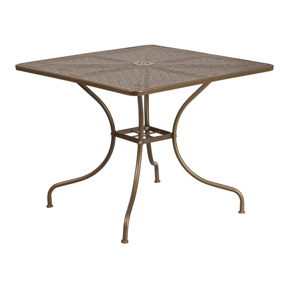"""Flash Furniture 35.5"""" Square Gold Indoor-Outdoor Steel Modern Patio Table"""