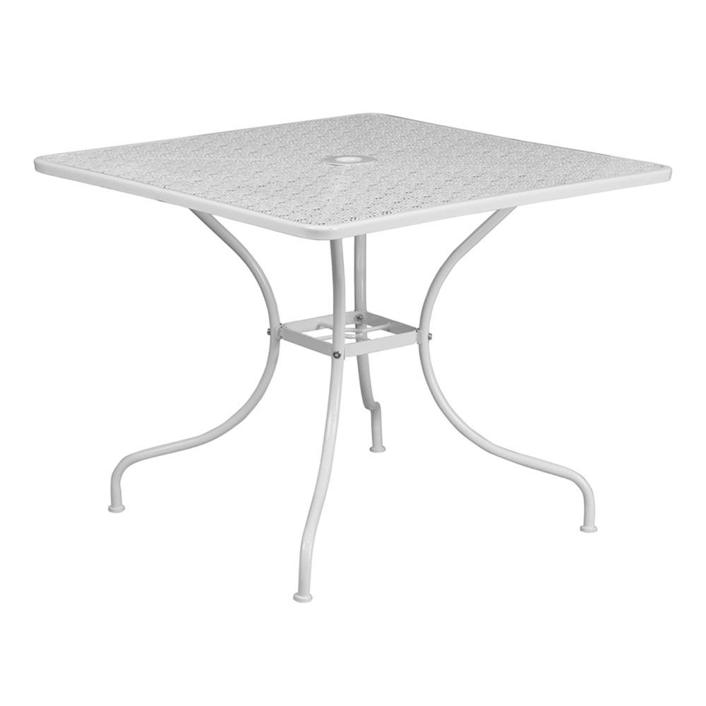 """Flash Furniture 35.5"""" Square White Indoor-Outdoor Steel Modern Patio Table"""