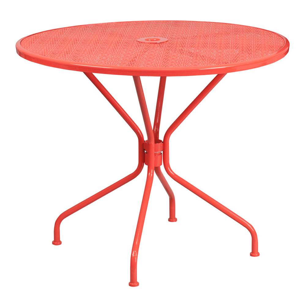 """Flash Furniture 35.25"""" Round Coral Indoor-Outdoor Steel Modern Patio Table"""