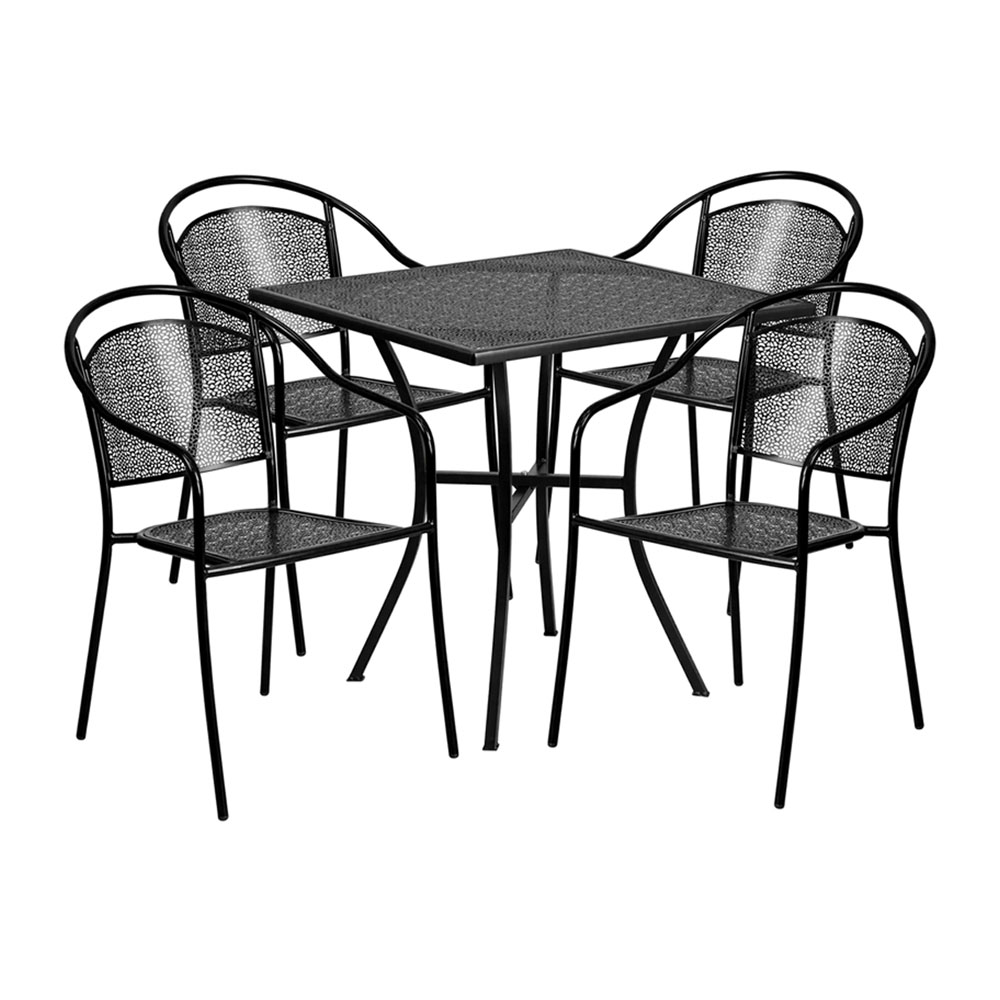 "28"" Square Black Indoor-Outdoor Steel Patio Table Set with 4 Round Back Chairs"