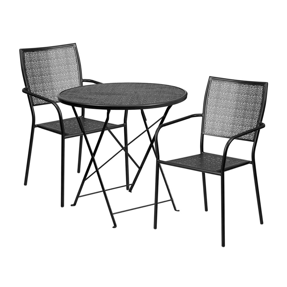 "30"" Round Black Indoor-Outdoor Steel Folding Patio Table Set with 2 Square Back Chairs"