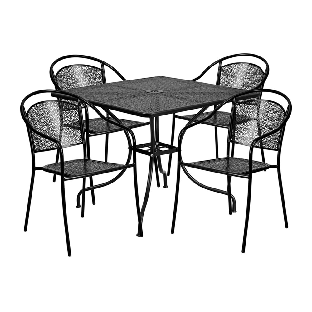 "35.5"" Square Black Indoor-Outdoor Steel Patio Table Set with 4 Round Back Chairs"