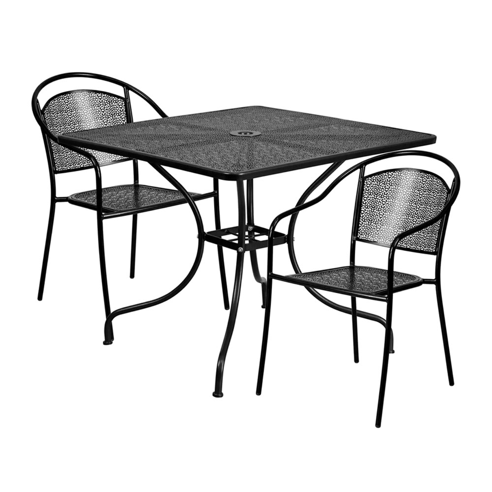"35.5"" Square Black Indoor-Outdoor Steel Patio Table Set with 2 Round Back Chairs"